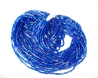 Capri AB blue seed bead hank, gloss finish blue seed beads,12 strands deep blue tiny Czech Maco Tubes 20/0