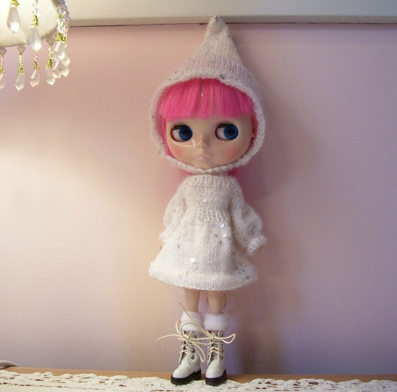 Blythe....Blythe Dress....Hand knitted Dress and Hat....Darling Little Sequins in the Yarn...Sooo Cute