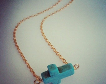 Turquoise Sideways Cross Necklace Side Ways Bead Short Gold Chain Pendant