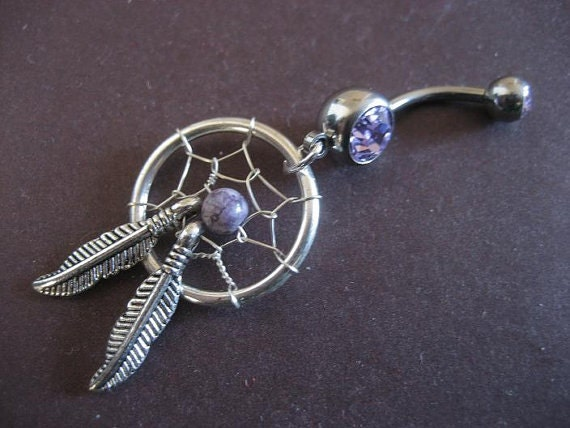Belly Button Ring Jewelry. Purple Dream Catcher Belly Button Ring- Dreamcatcher Jewelry Navel Piercing Bar Barbell Belly Button Ring Jewelry