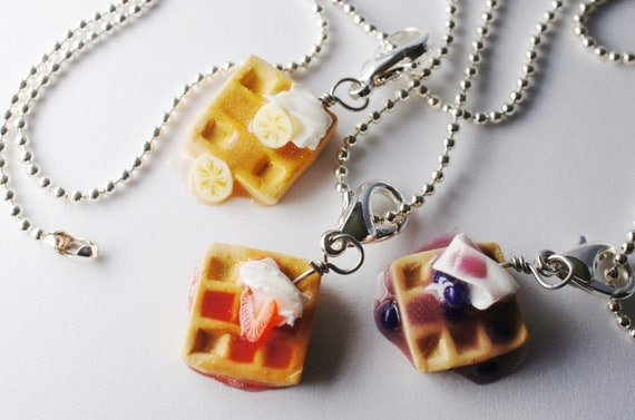 waffle best friend necklaces miniature food jewelry