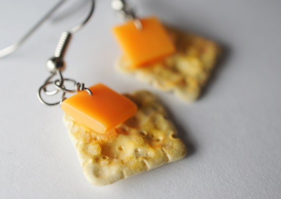 Cracker and Cheese Earrings, Miniature Food Jewelry, Surgical Steel Earrings