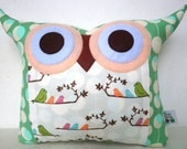 NEW/morning call Polyfil Stuffed owl pillow/Ready to ship