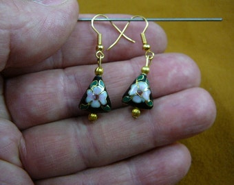 Black with pink white flower 11x13 mm triangle Cloisonne one bead gold dangle earring pair EE-615-30