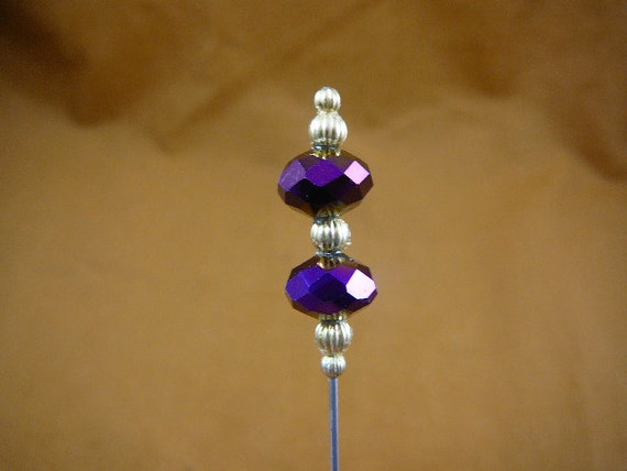 two purple iridescent 12 x 9 mm faceted glass beads bead silver beaded hatpin ladies pin hat U-70-31