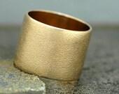 14k Gold Wedding Band with Pinbrushed Finish- Custom Made 15mm Wide Band