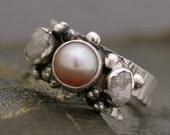 Raw Diamonds and Lavender Pink Pearl in Textured Sterling Silver Ring- Custom Made
