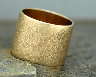 14k Gold Wedding Band with Pinbrushed Finish- Custom Made 15mm Wide Band