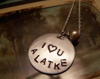 I Love You a Latke Necklace  Silver Version  Hanukkah