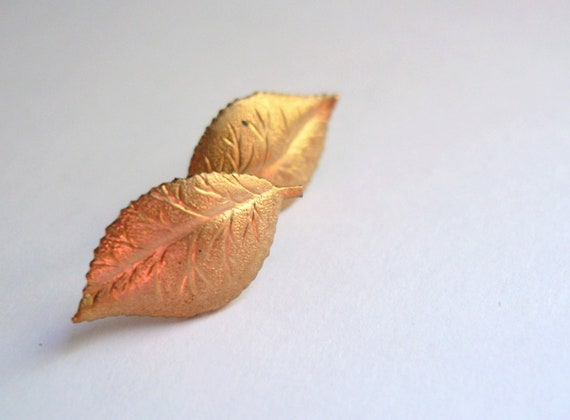 Studs. Leaf earrings. Vintage brass leaf posts with stainless steel posts.