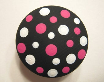 Set of 8 BLACK KNOBS with White and Hot Pink - Polka Dots Dresser Drawer Knobs - Hand Painted