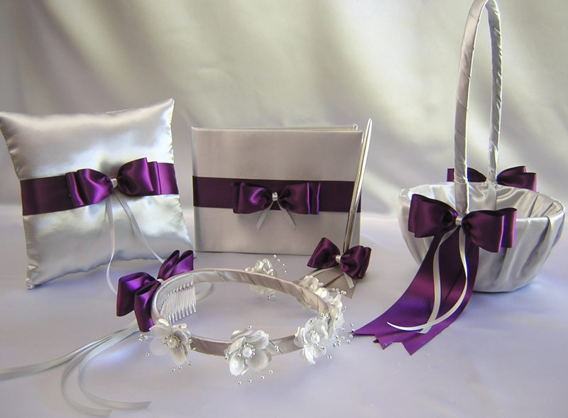 Wedding Silver Gray Eggplant Purple Flower Girl Basket Halo