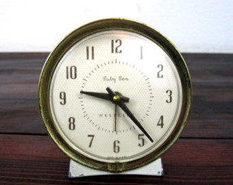 Vintage Westclox Baby Ben Alarm Clock  / Retro Side Table Timepiece