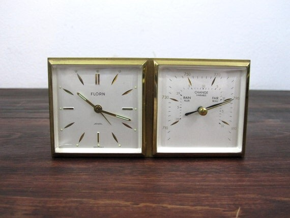 Vintage Florn Travel or Desk Alarm Clock  with Barometer / Retro Alarm Clock made in Germany