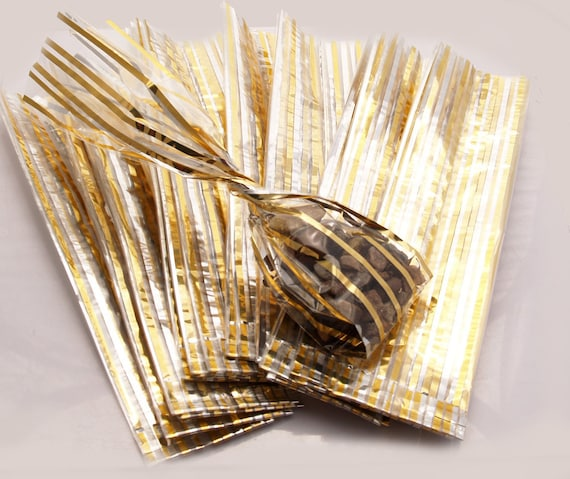 25 Gold Stripe Clear Cellophane Gift Bags Wedding Party