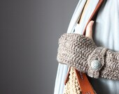 ON HOLD Crochet Fingerless Gloves Taupe   Mittens Arm Warmers  cloud  strap button