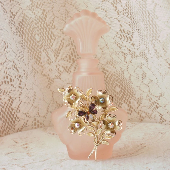 Colorful Flower Spray and Rhinestone Butterfly Vintage Jewely Embellished Pink Perfume Bottle