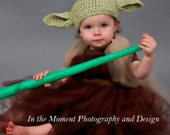 Yoda Crochet Hat, Baby/Toddler Size