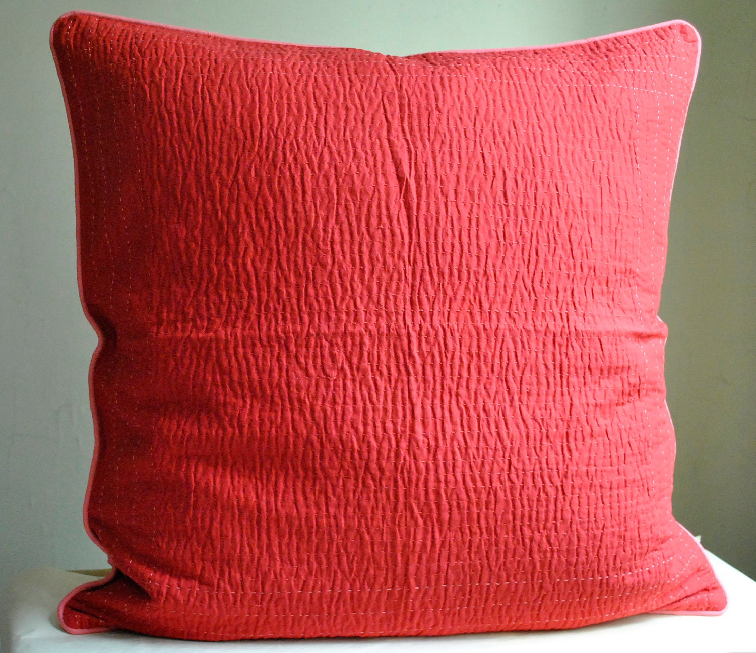 Thread The Needle Euro Pillow Sham Set Red Coral Modern By