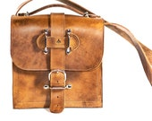 Rugged Leather Camera Bag - Indiana Jones Satchel Messenger Bag Tan Leather