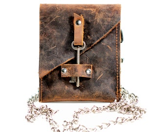 Leather Hip Bag - Waist Pouch with Antique Skeleton Key - Belted Wallet - Chain Wallet Fanny Pack - Hip Belt Wallet