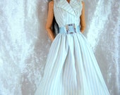 Pretty Vintage Genuine Barbie Blue Pinstripe Shirtdress
