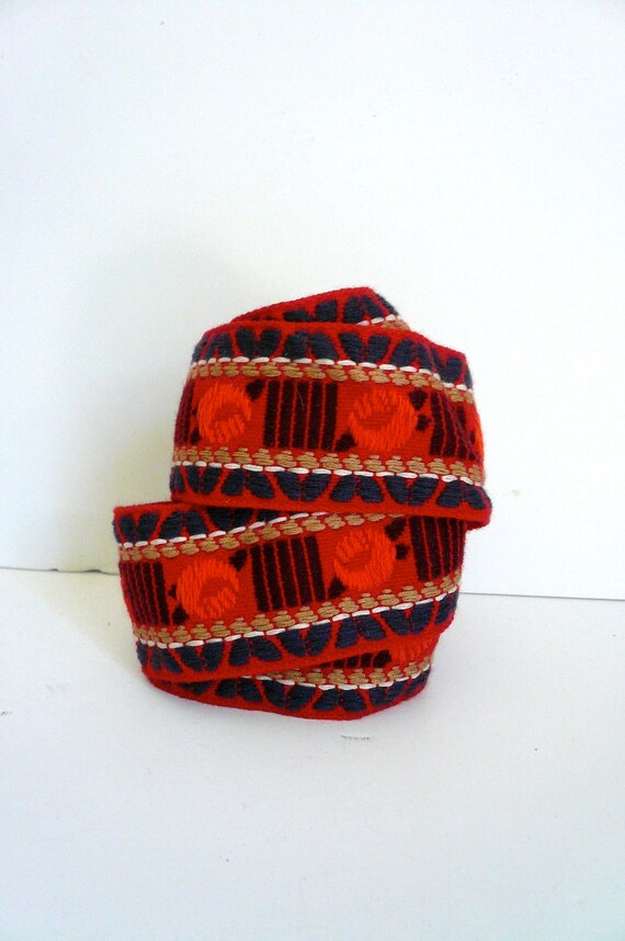 Vintage Woven Trim Red Orange Purple