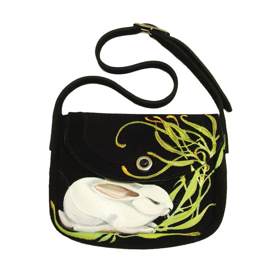 Sale - Hay Rabbit handpainted purse - one of a kind, by NYhop - vintage black suede mini saddle shoulder bag