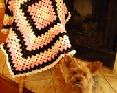 Baby Blanket Crochet, Crochet Baby Blanket, Pink, Black and Ivory Blanket, Granny Square Blanket
