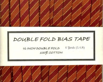 Double Fold Bias Tape - Wine and Red Stripe - 6 Yards