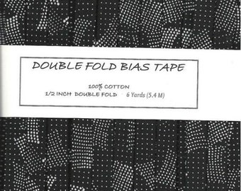 6 Yards Black with Multi Size White Polka Dots Double Fold Bias Tape