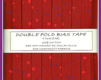 6 Yards (5.4M) Handmade Double Fold Bias Tape - Red Hot Mamas on Red from Northcott Fabrics