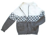 Vintage Knit Wool Cardigan Scandinavian Style Zip Up Mens Medium Ladies Lg, like new