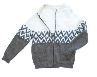 Vintage Knit Wool Cardigan Scandinavian Style Zip Up Mens Medium Ladies Lg, like new