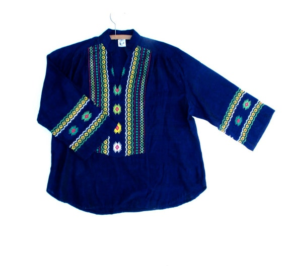 Boho Embroidered Tunic, Guatemala Woven Top, Antigua Beach Shirt, Hippie Tunic Embroidered, Unisex Medium Large