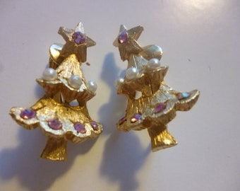Signed CORO Christmas Tree Clip On Earrings
