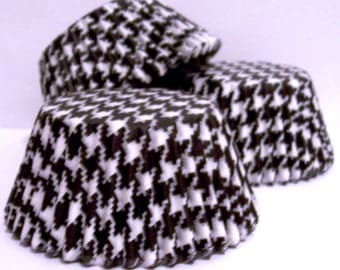 Black Houndstooth Cupcake Liners- Choose Set of 50 or 100