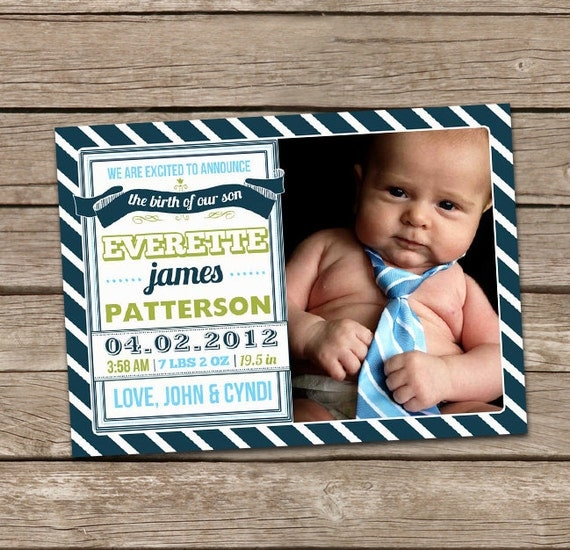Birth Announcement : Everette Baby Boy Custom Photo Birth Announcement