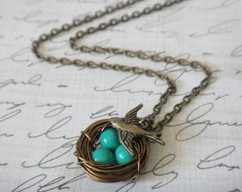 Turquoise Bird Nest Necklace Antique Brass Bronze