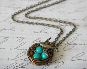Turquoise Bird Nest Necklace Antique Brass Bronze