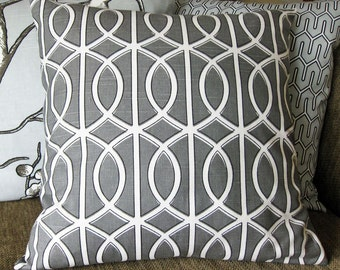 "Decorative Pillow Cover, One 18"" x 18"",  in Gray and White, Dwell Studio Geometric Print"