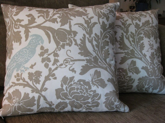 Set of Two Decorative Pillow Covers, 18 inch, Floral and Bird Design  in Village Blue, Taupe and Cream