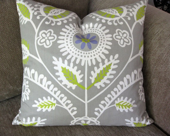 """Decorative Pillow Cover, One 18"""" x 18"""",  Gray, Cream, Purple and Olive"""