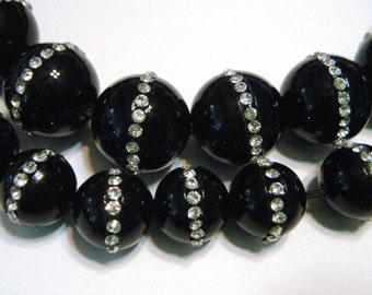 Swarovski crystal set Black onyx round bead set 3 pieces