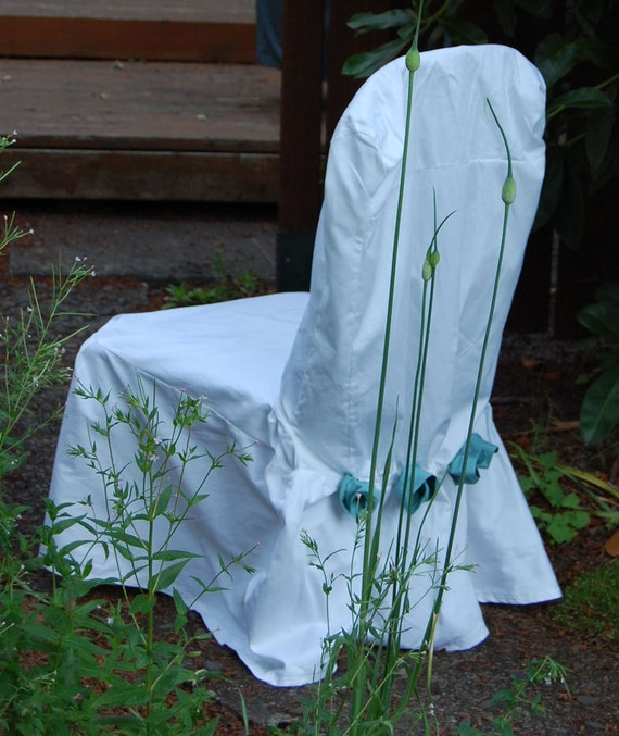 XL Drawstring Styled Chair Cover in white with rosettes Set of 2 Ready Made SALE