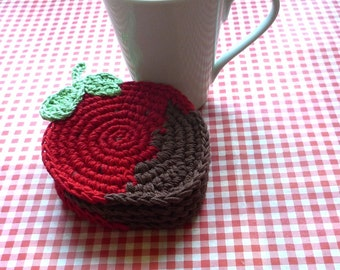 Crochet Pattern - Crochet Strawberry Pattern - Crochet Coaster Pattern - Strawberry Coaster - Crochet Fruit Coaster - Valentines Gift