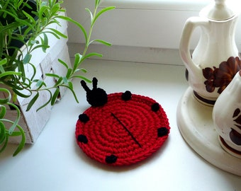 Crochet Coaster Pattern - Ladybug Pattern - Crochet Pattern - Ladybug Tutorial - Pattern for Beginner  - Ladybug Applique - Kitchen Decor