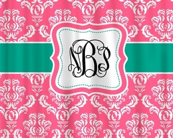 Custom Personalized Damask Shower Curtain - Shown in Berrylicious Pink and Pastel Pink with accents