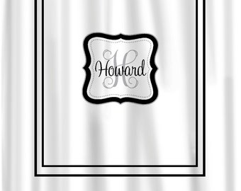 Custom Shower Curtain -Simplicity with monogram in your colors - any color background- monogram - Standard or ExLong