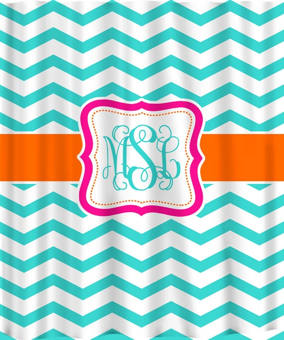 Personalized Shower Curtain - Shown -Aqua, Orange & Hot Pink Accents - Standard or Ex Large